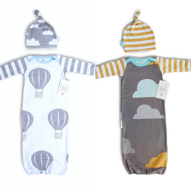 Ins New Autumn Spring Cotton Cloud Balloon Newborn Baby Beanies Hat Baby Long Sleeve Sleepwear Blanket Sleeping Bag Footmuff