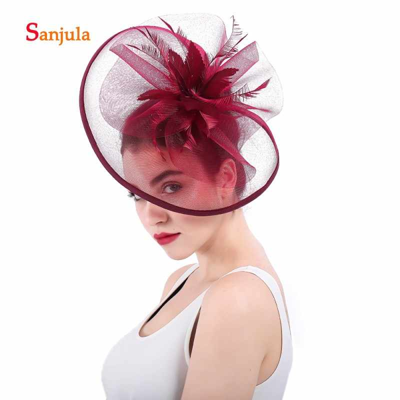 c97f6fba ... Burgundy Bridal Hats 2018 Big Hats Tulle Flowers Feathers Fascinators  Wedding Hair Accessories with Hair Clips ...