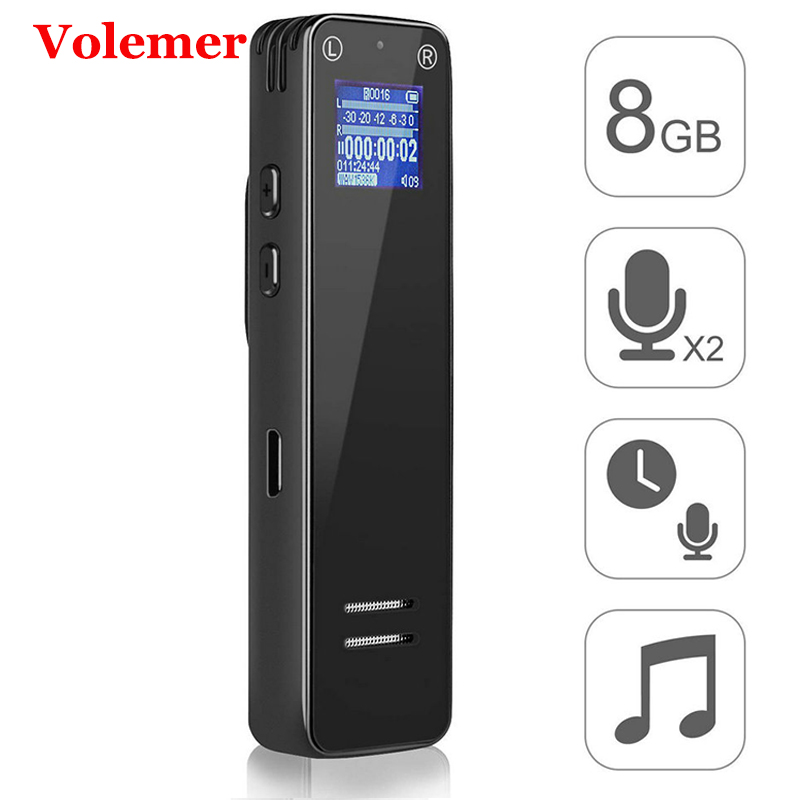 Volemer Hot V16 enregistreur vocal Audio numérique 8G professionnel Dictaphone Mini lecteur Mp3 Agc réduction du bruit Clip ceintures enregistreur