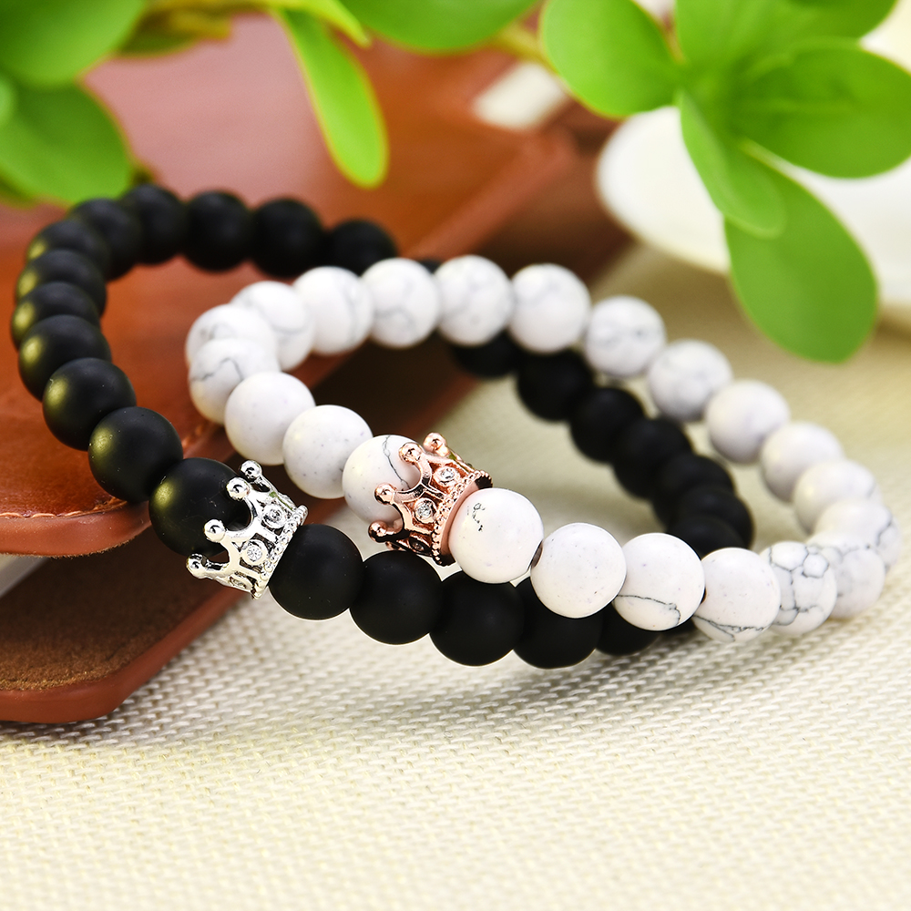 2Pcs Couple King Queen Crown Bracelets His And Her Friendship 8mm Black Onyx White Beads Bracelet For Women Men