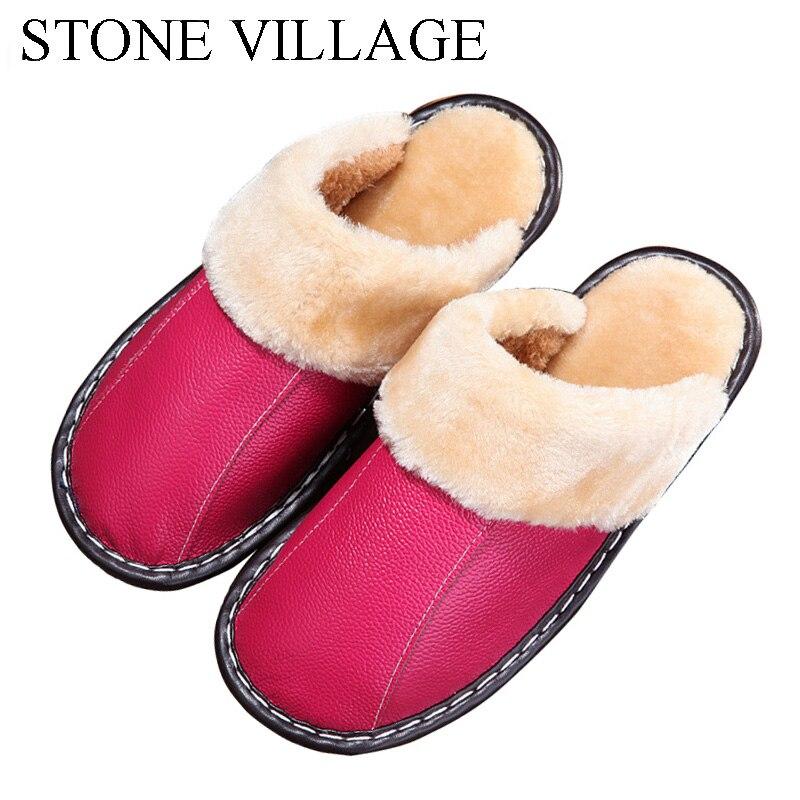 Genuine Leather slippers Warm plush Slipper women Couples Winter IndoorOutside Flats women slippers shoes Women home Slippers
