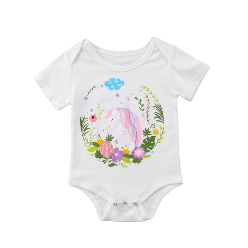 Baby Girls Short Sleeve Romper Hot Sale Newborn Baby Girl Unicorn Floral Romper 2018 New Bebes Jumpsuits Sunsuits Baby Clothing