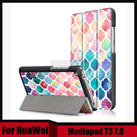 3in1 Print Slim Folding PU Leather Cover For Huawei Mediapad T3 7 0 BG2 W09 Stand