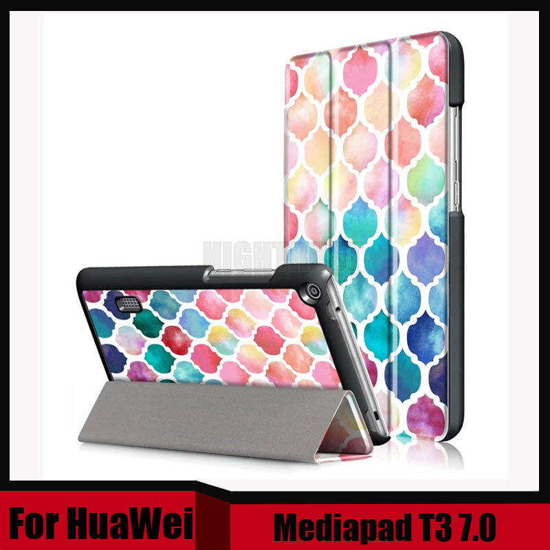 3In1 Print Slim Folding PU Leather Cover For Huawei Mediapad T3 7.0 BG2-W09 Stand Case For Honor Play Pad 2 7.0 Tablet + Gift