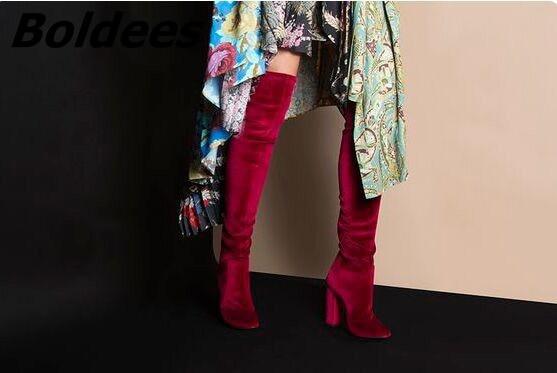 Bloque vino Tinto Lujo Sexy Sobre Rodilla Moda Azul Celebridades Zapatos Mismo Talón Tacones Velvet Botas Alto El La Soft rosado Vestido En Mujeres Muslo fBxqBgSw