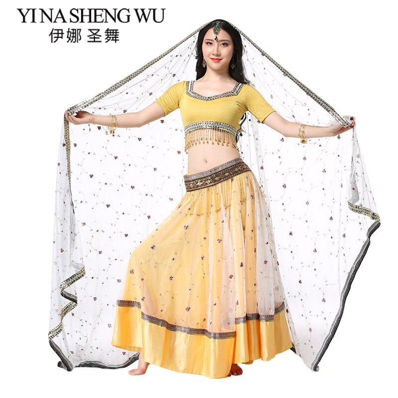 Nouvelle Étape Performance Femmes Vêtements De Danse Du Ventre Indien De Danse Brodé Bollywood Costumes 4 pièces Ensemble (Haut + Ceinture + jupe + Sari)