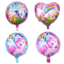 4pcs/lot 18 inch Cartoon My Little Pony Theme Aluminium Foil material balloons kids Party Birthday Decoration Supplies