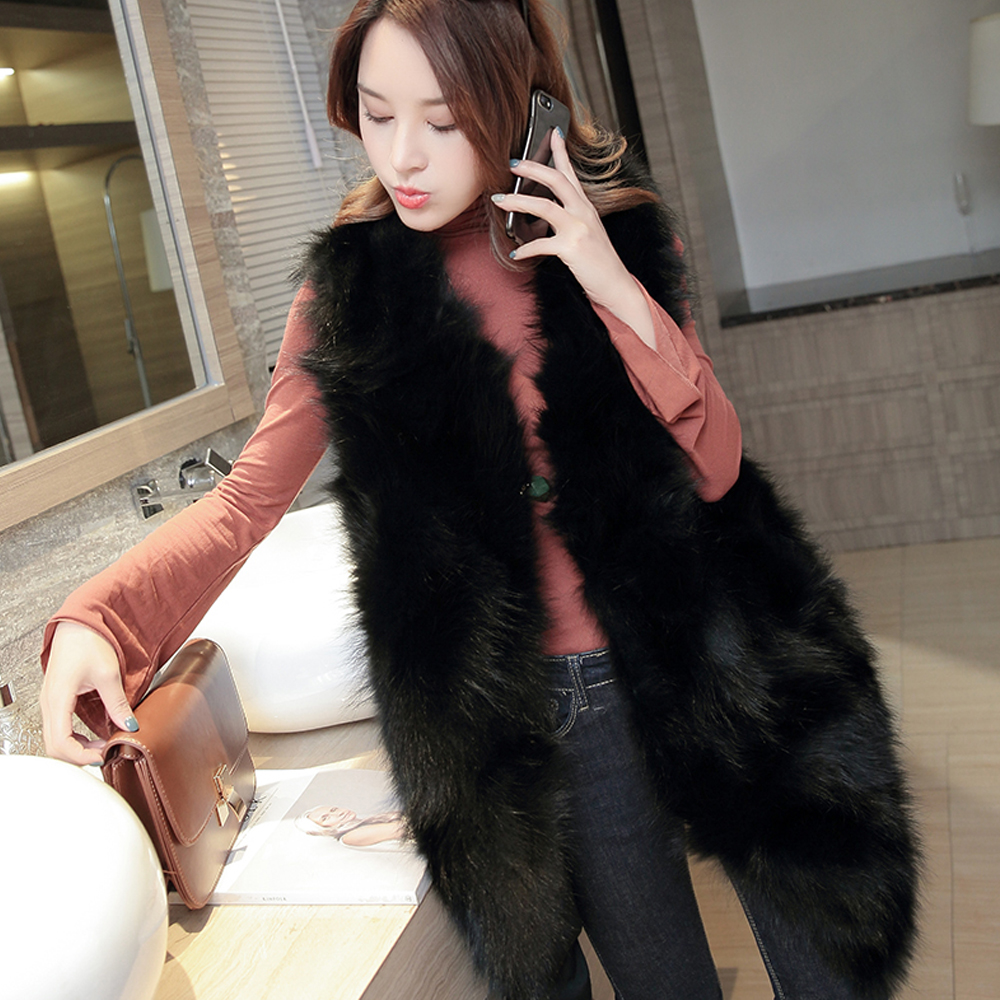 2019 New Fashion Long Fur Vest Vintage V Neck Real Genuine Raccoon Fur Waistcoat Long Gilet