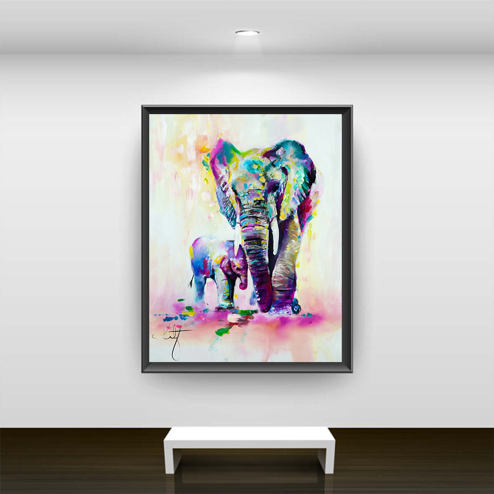 Watercolor Canvas Painting HD Printed On Canvas Art Animal Elephant ...