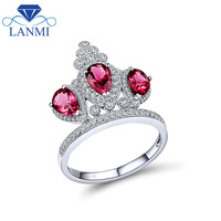 Natural Pink Tourmaline Solid 14k White Gold Jewelry Crown Gemstone Ring Diamond Fine Jewelry For Sale