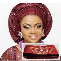 Unique Aso Oke with stones Headtie one piece per pack African SEGO gele Wrapper Scarf 6.8meters length,11 colors available H1706