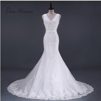 C V 2017 New V Neck Sleeveless Appliques Beading Mermaid Wedding Gown Fish Chapel Tail Plus