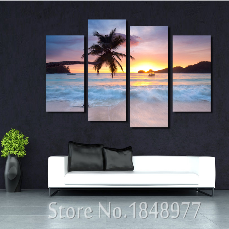 4 Piece Sunset Seascape Coco Beach Modern  Wall Art HD Picture Canvas Print Modular Painting For Living Room Decor