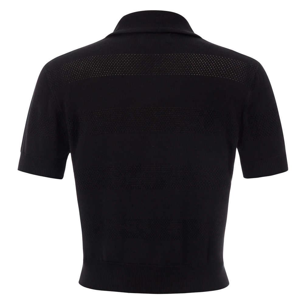 Belle Poque 여성용 반팔 탑 인형 칼라 Hollowed-out Button Placket 카디건 아웃웨어 블라우스 Women Shirts Corp Tops
