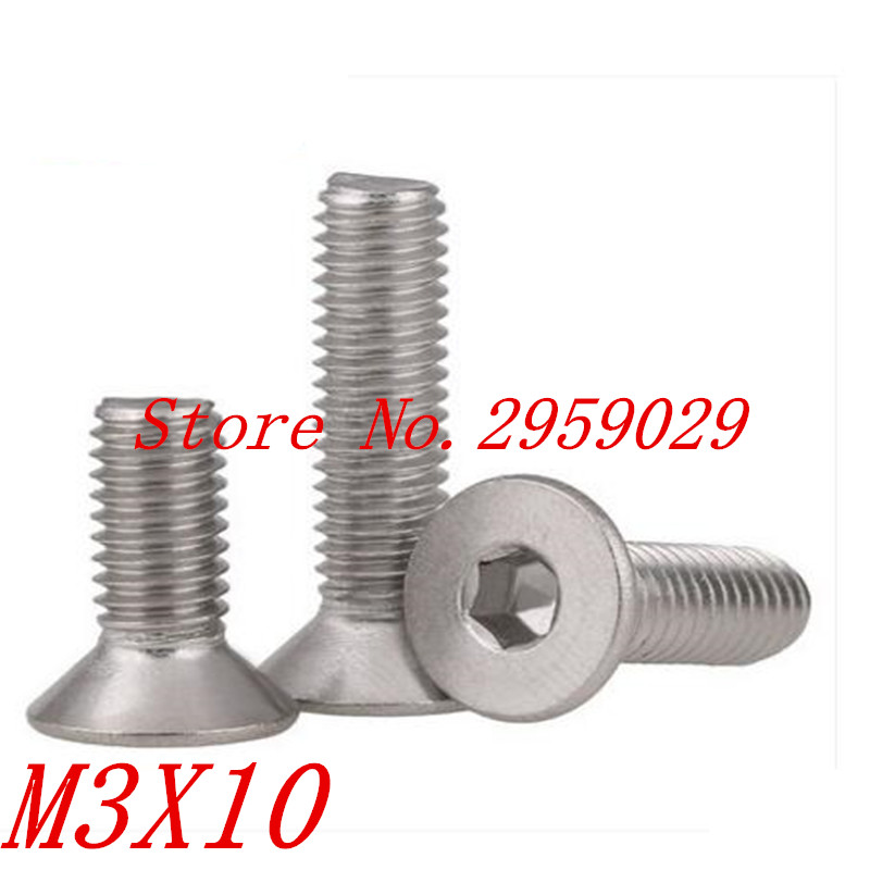 1000pcs DIN7991 <font><b>M3</b></font>*10 <font><b>M3</b></font> x <font><b>10mm</b></font> Stainless steel 304 hex socket countersunk head machine <font><b>screw</b></font> image