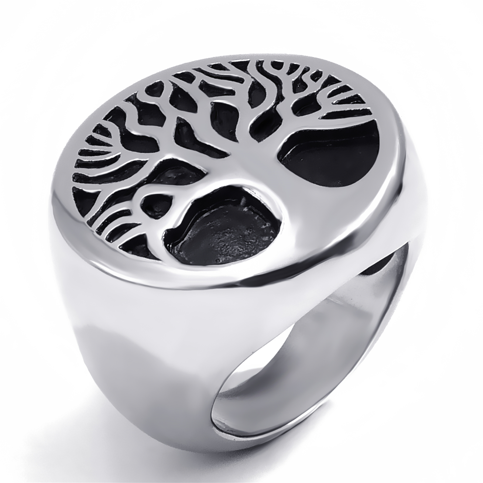 Mens Boys Stainless Steel Ring Band Tree of Life Silver Tone Fashion Jewelry Size 8-13 gj303 rhinestones 316l stainless steel couple s ring black silver size 9 7 2 pcs