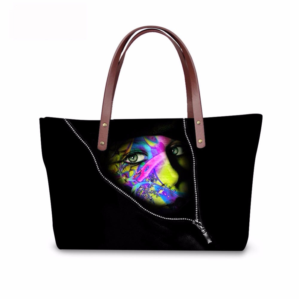 Noisydesigns black cool mask Pattern Shoulder Bag Big gorjuss bag Women Hand Bag Beach Totes Travel Tote Sac a main Wholesale