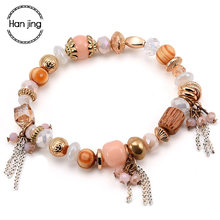 Luxury Brand Bts Bracelets For Women Bohemian Elasticity Crystal Beads Tassel DIY Charm Bracelet & Bangle Jewelry Gifts pulseras(China)