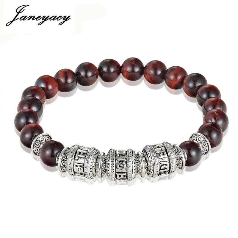NEW Tiger Eye Fashion Bracelet Men's Natural Stone Six words of mantra Men's Bracelet Women's OM MANI PADME HUM Women's Bracelet