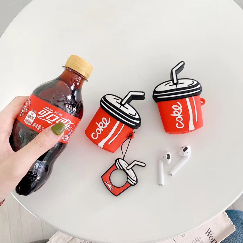Bluetooth Wireless Earphone Air Pods 2 Silicone Cases For Apple Airpods Cute Coca Cola Protective Cover with Finger Ring Strap-in Earphone Accessories from Consumer Electronics