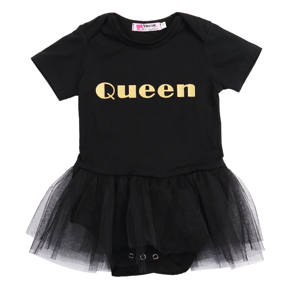Hi Hi Baby Store Newborn Baby Girls Queen Short Sleeve Tutu Skirt Body Romper Jumpsuit Cotton  Outfit