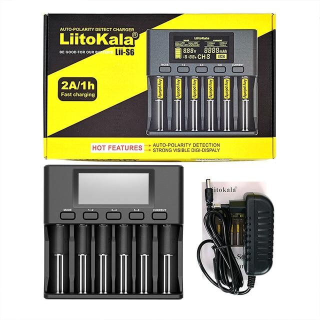 LiitoKala Lii S6 Lii PD4 Lii 500 شاحن بطارية 18650 6 فتحة سيارة قطبية كشف ل 18650 26650 21700 32650 AA AAA بطاريات