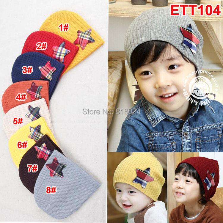 (8 Colors )Wholesale 2014 Autumn Winter Warm Five Star Baby Beanie Spring Children Cap For Boy Girl Infant Hats for 1-3T