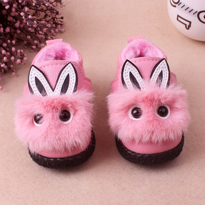 Lovely Animal Rabbit pattern Winter Warm Outdoor Baby Red pink Shoes infant anti slip first walker