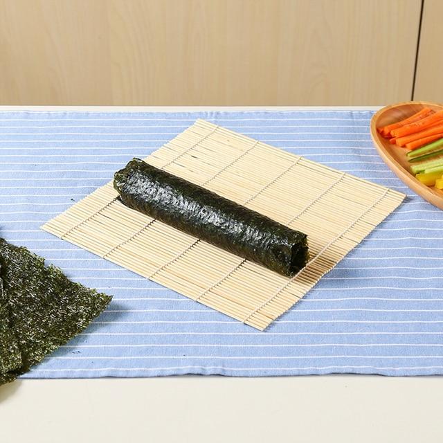 Rodillo enrollable de Sushi japonés de bambú, alfombrilla de Sushi DIY Onigiri rodillo de arroz máquina de mano herramientas de Sushi cocina japonesa máquina de Sushi también