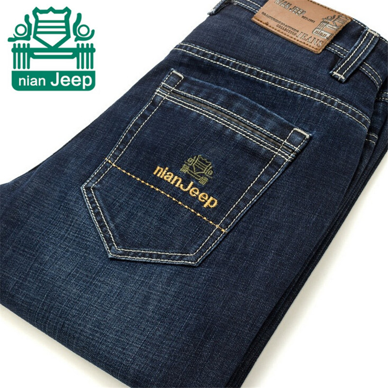 NianJeep Autumn Thickness Straight Cotton Jeans Striped Style Good Quality Man s Slim Trousers Blue Color