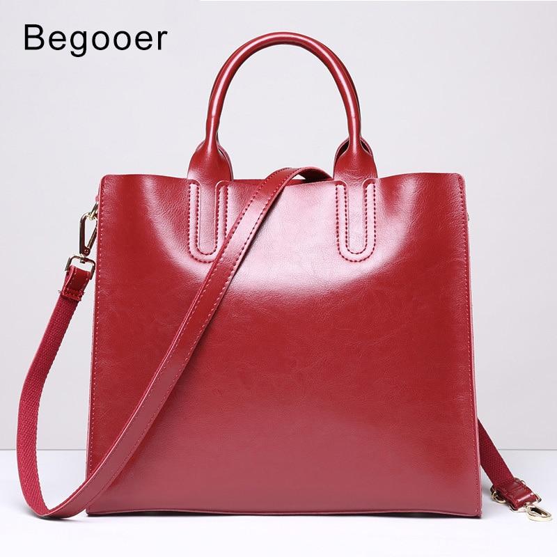 BEGOOER Brand Genuine Leather Casual Tote Fashion Women Handbag Soft Leather Shoulder Bag Famous Brand Designer