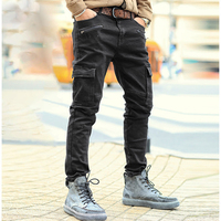 Men Autumn solid zipper casual washed jeans men jeans black high quality fashion multi pockets trousers men brand design