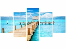 5 Pieces HD Print Canvas Painting On Oil Paintings Blue Sky White Clouds Wooden Bridge Seascape Wall Home Decor Picture Framed