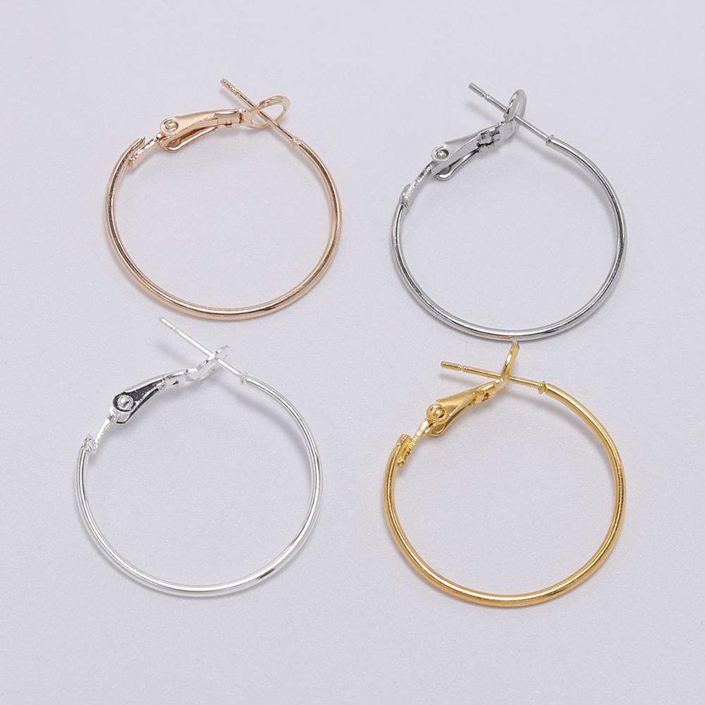 10Pcs/Lot 30 40 50 60 70mm Silver Gold Round Big Hoop Earrings Accessories Exaggerated Hoop Ear For DIY Jewelry Making Finding