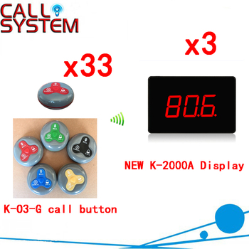 Number Paging System Hotel Sell Wireless Calling For Restaurant Display With 100% Waterproof Buzzer(3 display+33 call bu