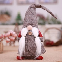 Christmas Gnome Plush Desktop Ornaments Mini Standing Spirit Doll with Knotted Beard for Home Bar Christmas Decor ornament