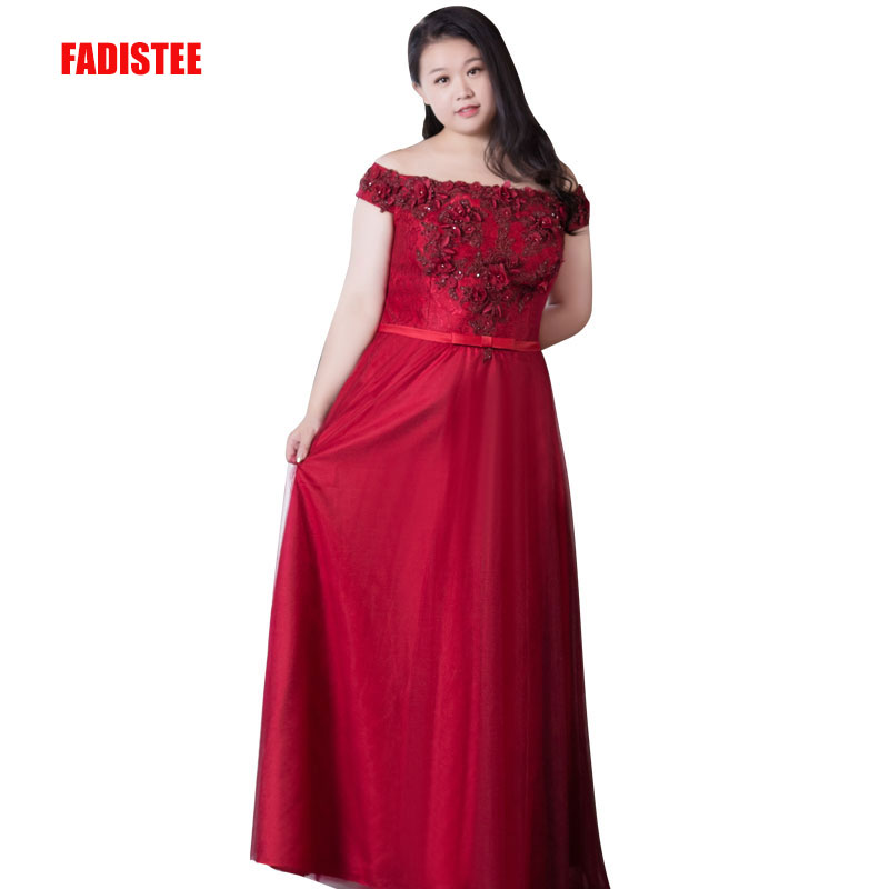 FADISTEE New arrival elegant prom party   dress     evening     dresses   fat plus size gown lace boat neck sleeveless simple satin short