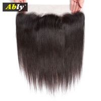 Ably Hair Extenions Peruvian Straight Lace Frontal Closure Pre plucked With Baby Hair Remy Lace Front Closure Human Hair Closure