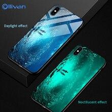 Luminous Case for Xiaomi Redmi Note 5 6 Pro Cover Plus Luxury Fluorescence Glass Mi 8 A2 lite Max 2 3 Coque