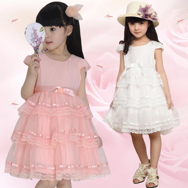 Cute Girl Layered Dress Solid Color Princess Ball Party Dress Dentelle Short Sleeve Summer Children Dresses Vestido Menina pearl detail layered frill sleeve top