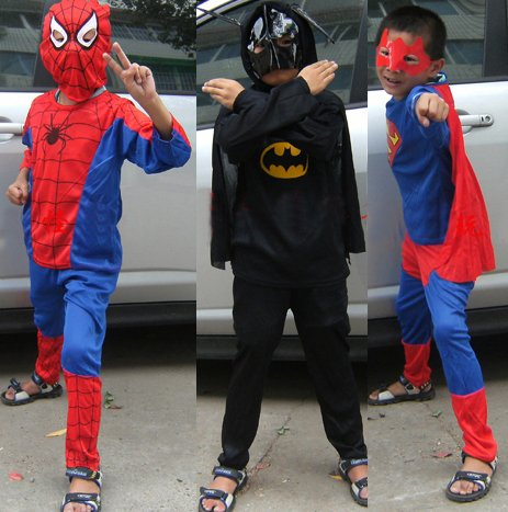 Free shipping ,Children halloween party costume superhero spiderman batman superman costume ,three sizes.