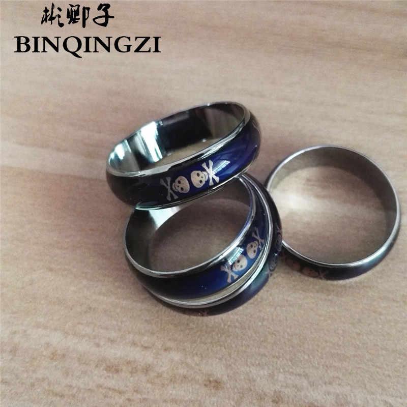 กะโหลกแหวนผู้หญิงผู้ชายอารมณ์ความรู้สึกที่เปลี่ยนอารมณ์สีอุณหภูมิคู่แหวนเครื่องประดับ
