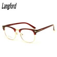 45f95997c6 Langford marca óptica marcos hombres gafas de medio marco TR90 vendimia  browline gafas con receta marcos diseños 6085