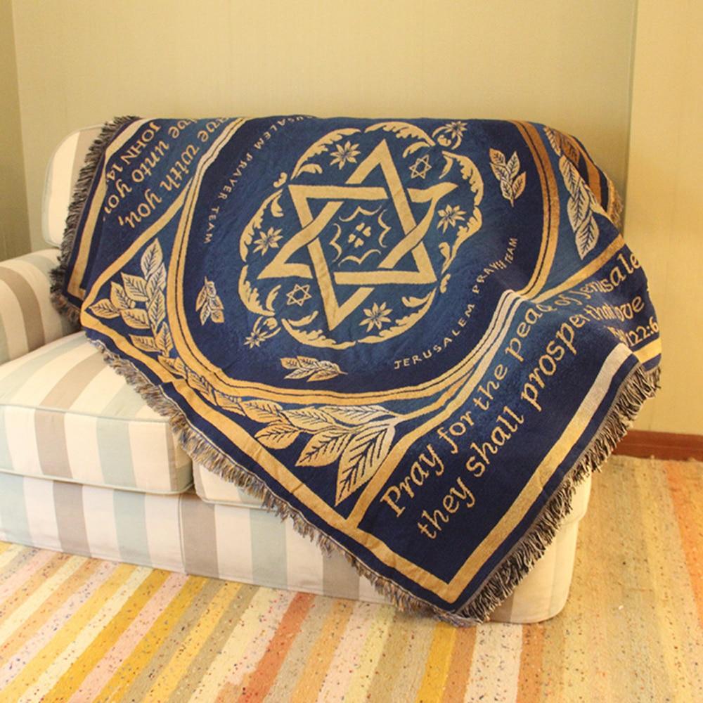 ESSIE ACCUEIL Canapé Couverture Israël Drapeau Tapis Coton Jacquard Couverture Bleu Canapé Décoration Tapis Tapisserie Couvre-lit