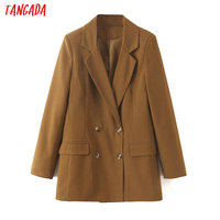 Tangada women double breasted suit blazer vintage style 2019 brown solid long blazer pockets casual suit outwear SL430