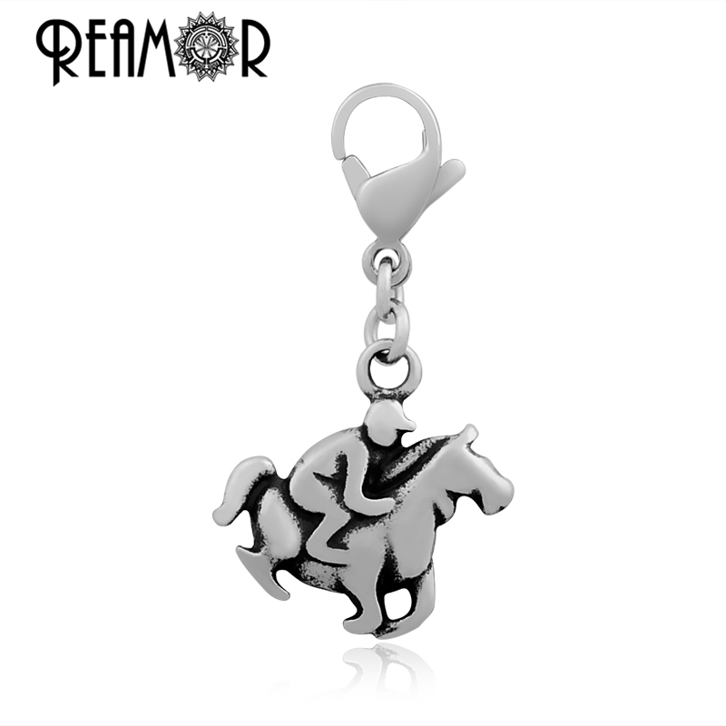 REAMOR 316l Stainless Steel Classic Horse Riding Floating Equestrianism Dangle Charms With Lobster Clasp DIY Necklace Pendant