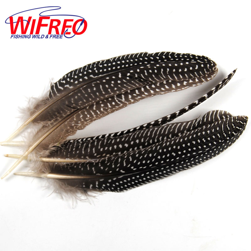 Wifreo 10PCS Natural Color Black White Dot Plume Feather Fly Tying Wing Tail Material 13 ~ 16cm Length fly iq255 pride black