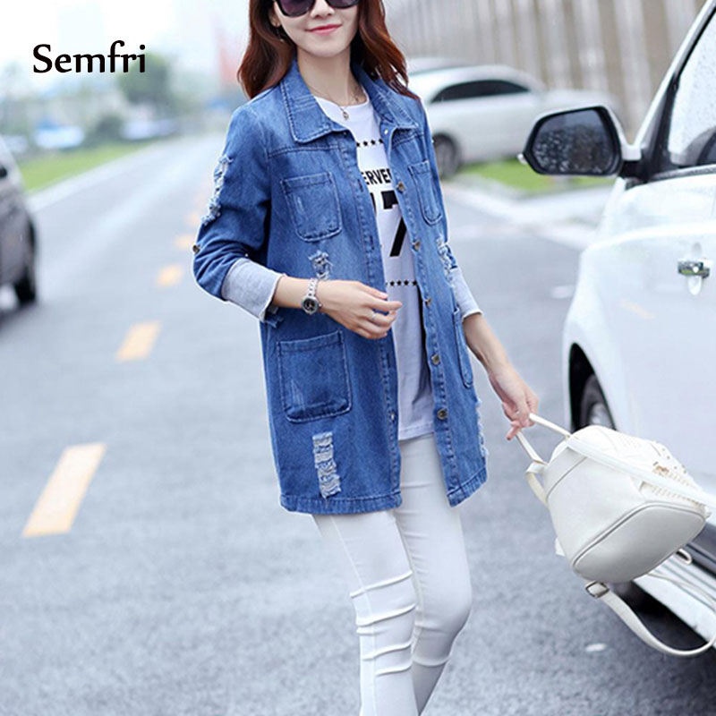 Semfri Long Jean Jacket Women Denim Basic Coat 2019 Slim Casual Blue Fashionable Coat Outwear With Pockets Windproof Windbreaker