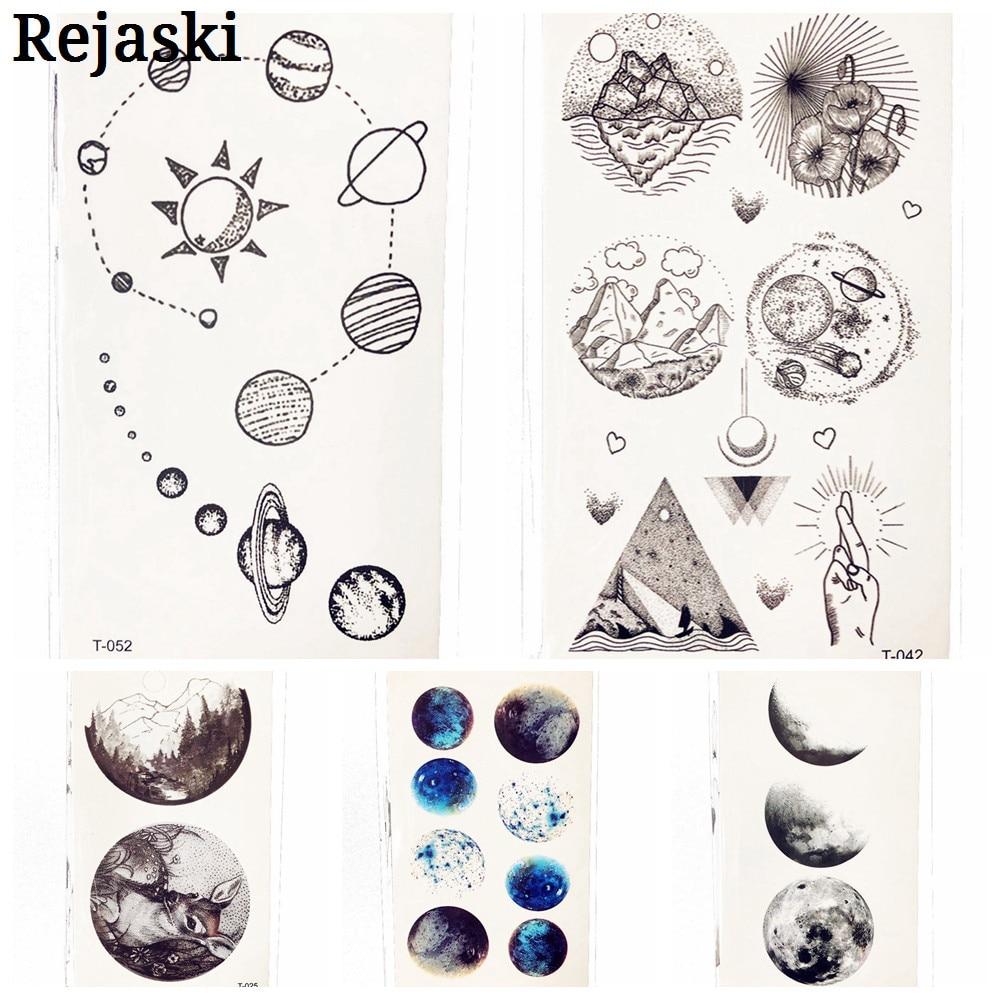 Cute Geometric Planet Temporary Tattoo For Children Girl Moon Forest Waterproof Fake Black Tattoo Stickers Kids Women Ear Tatoos