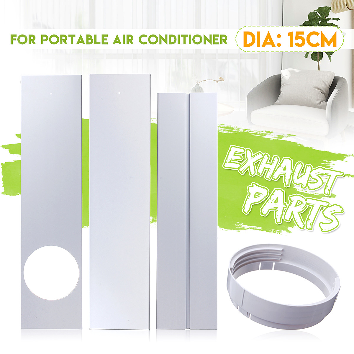 15cm Window Air Exhaust Hose Adaptor Connectors Plate Lock Sealing For Portable Mobile Air Conditioners Air-Conditioning Units